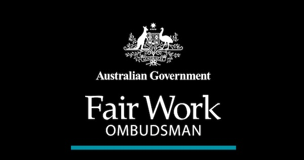 fair work ombudsman stacked white teal line